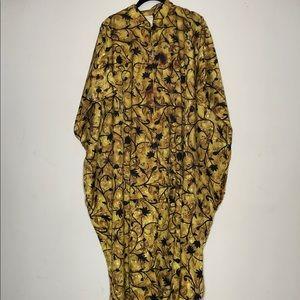VTG Mock Neck Half Zip Housecoat Kaftan Robe